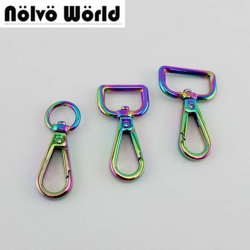 10pcs 30pcs 13mm 19mm 25mm NEW Fashion Rainbow Trigger Snap Hook Metal Swivel Clasp Lobster Claws Clasps