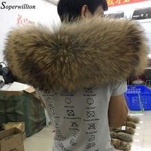 100% Real Bontkraag Grote 2020 Fashion Winter Natuurlijke Wasbeer Bont Vrouwen Sjaal Jas Parka Mannelijke Sjaals Luxe Bont 60cm 70Cm #22