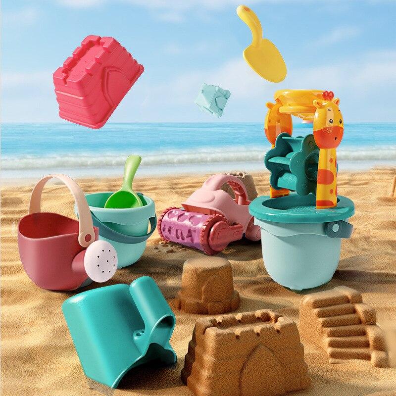Детские пляжные игрушки, набор из 7 предметов, детский летний песочный инструмент для копания с лопатой, водная игра, набор уличных игрушек, ...