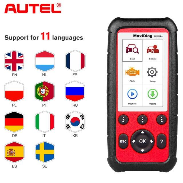 Autel MaxiDiag MD808 Pro все системы OBD2 масло сканера и сброс батареи регистрации, парковочные тормозные колодки Relearn,SAS,SRS,ABS,EPB,