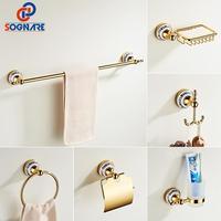Gold Bathroom Accessories Ceramics Sets Bathroom Towel Holder for Wall Toilet Paper Holder Toilet Brush Holder Bathroom Fixtures
