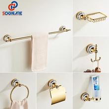 Gold Bathroom Accessories Ceramics Sets Bathroom Towel Holde