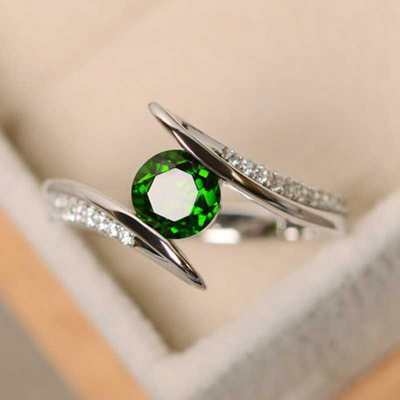 ใหม่น่ารักหญิงสีเขียว/สีฟ้า/สีม่วงหินแหวนแฟชั่นเงินสี Boho เครื่องประดับแหวนแต่งงาน Vintage ผู้หญิง