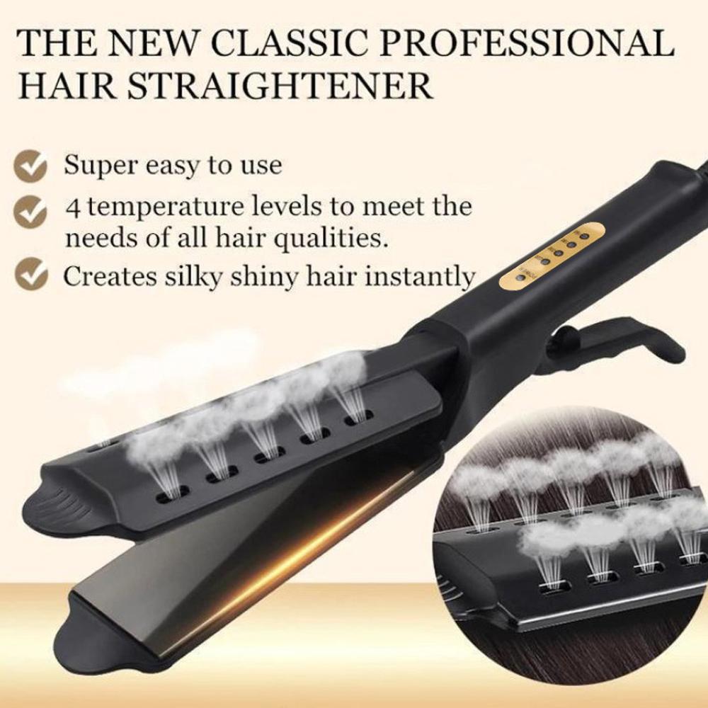 Hair Straightener Four-gear Temperature Adjustment Ceramic Tourmaline Ionic Flat Iron Hair Straightener Iron Widen Panel Women
