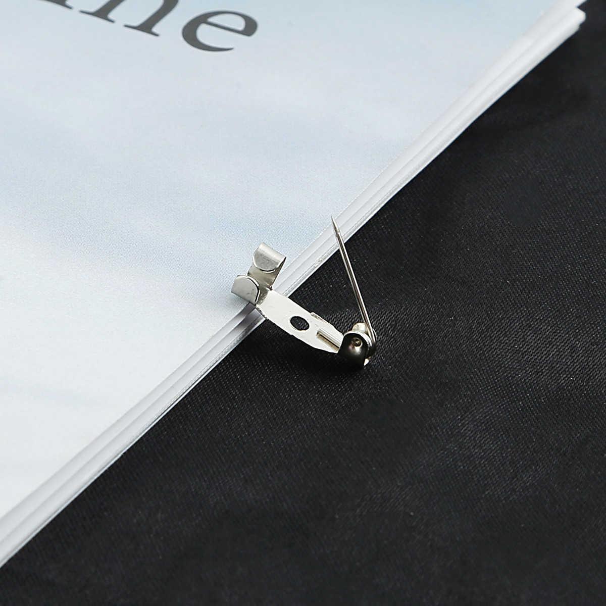 10-50 adet broş tabanı metal pimler 15/20/25/30/35mm pin arka gümüş renk kilitleme toka Pin tutucu takı aksesuarları