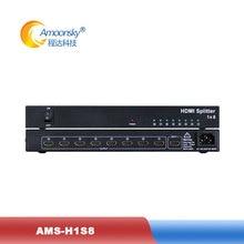 HDMI сплиттер AMS-H1S8 1 в 8 Выход HDMI сплиттер 1 шт. для 8 ТВ экранов дисплей ТВ видео контроллер