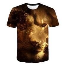 Verão 2021 nova 3d impressão t-shirts estampa animal impressão masculina casual o-pescoço hip hop manga curta tamanho