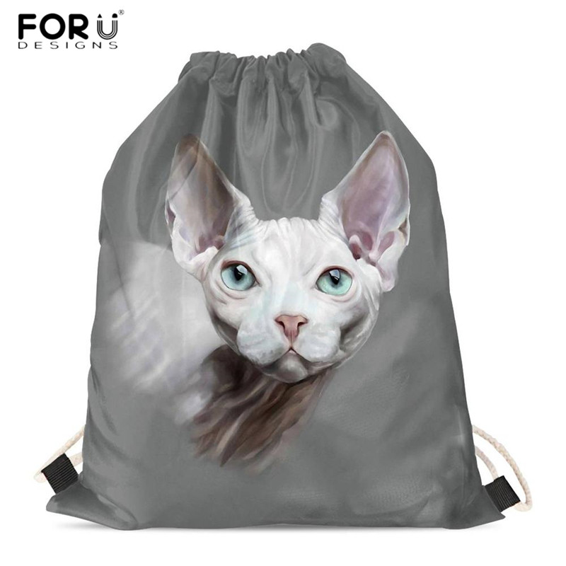 FORUDESIGNS Animal Cat Print 3D Drawstring Bags Canadian Hairless Lover Fashion Leisure Backpacks Portable Shopping Bags For Mom