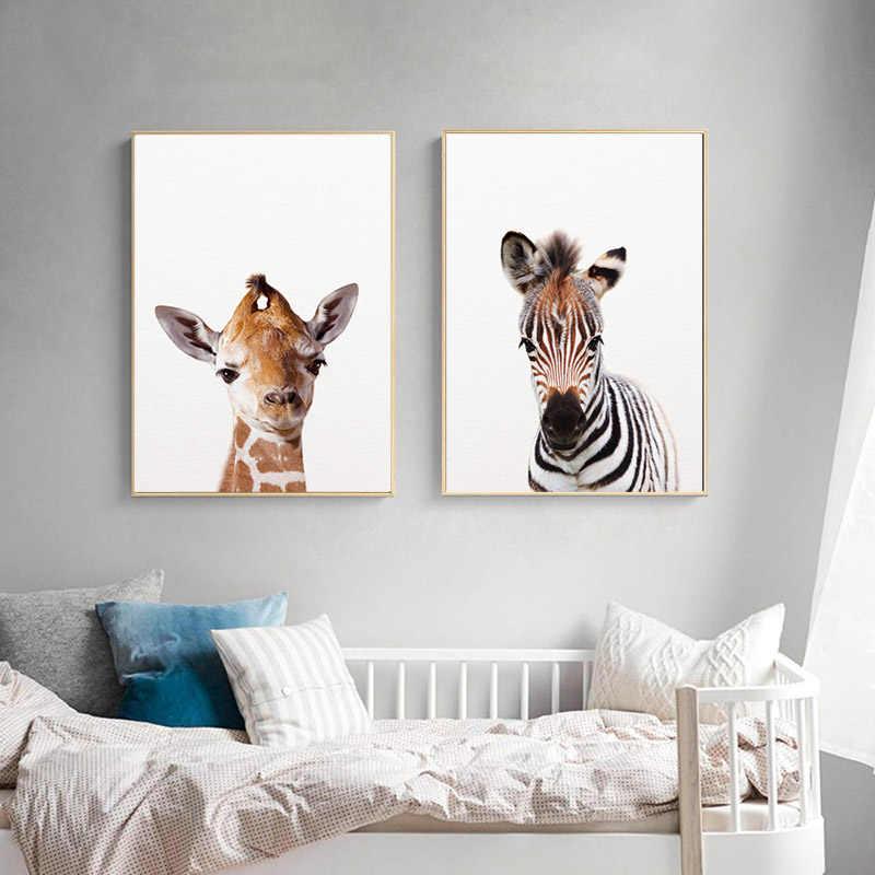 الطفل الحيوان زيبرا الأسد الفيل قماش المشارك الحضانة جدار الفن طباعة الحد الأدنى اللوحة الشمال زخارف غرف نوم أطفال صورة