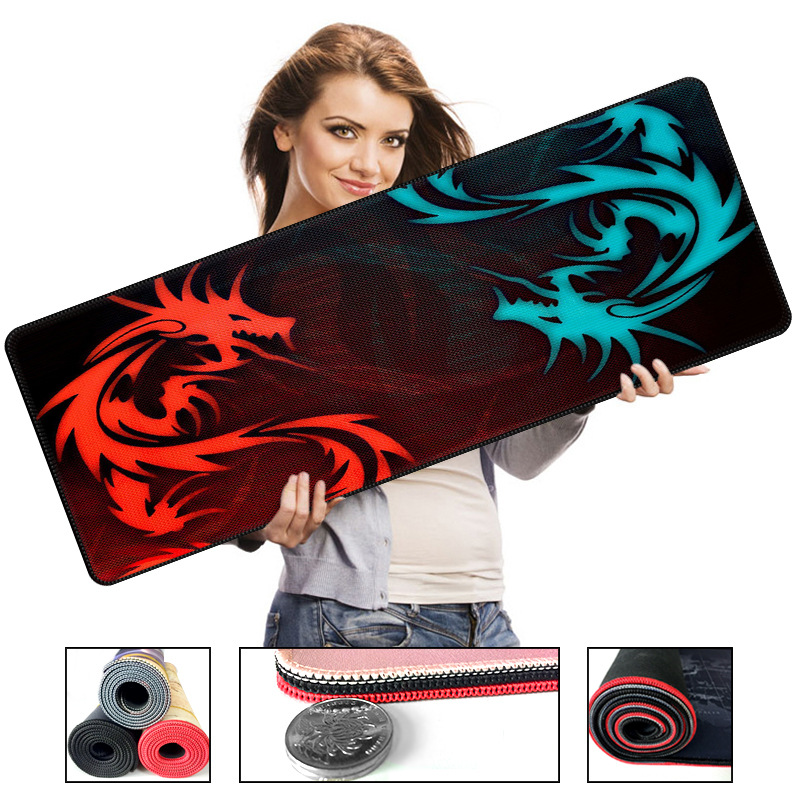700*300mm Red Dragon Series High Speed Large Gaming Lockedge Mouse Keyboard Mat Anti-slip Natural Rubber Computer Game Mouse Pad