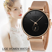 2020LIGE Brand Luxury Women Casual Watch Waterproof Wristwatch Fashion Dress Full Stainless Steel Ladies Clock Reloj Mujer