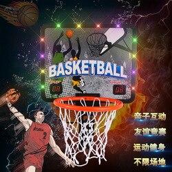 Los niños cuelgan la tabla de baloncesto de puntuación electrónica baloncesto cesta de hierro baloncesto aro de tiro de juguete de deportes de interior