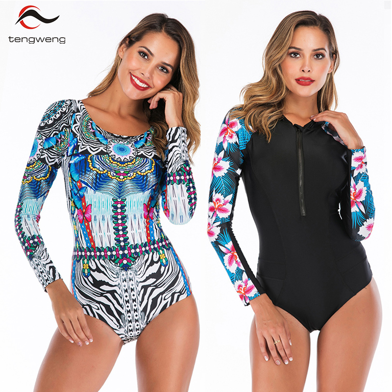 Tengweng 2019 Stripe Long Sleeve Rash Guard Women Surf Swimwear Floral One piece Swimsuit Plus size Female Bathing suit Monokini