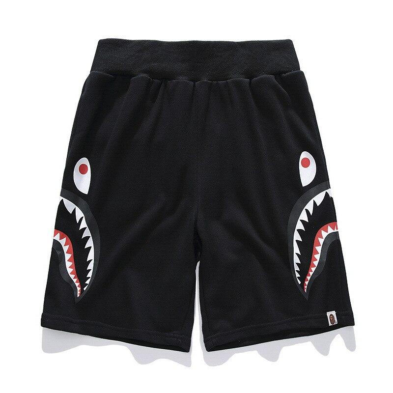 20ss Japanese-style Street Shark Head Casual Shorts Teenager Side Double Shark Sweatpants Couples Shorts Fashion