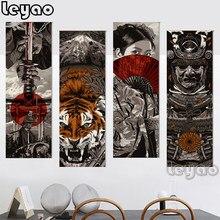 Peinture diamant Vintage, style japonais, Bushido, samouraï, perceuses carrées et rondes, mosaïque, puzzle, image de strass, kit de peinture murale