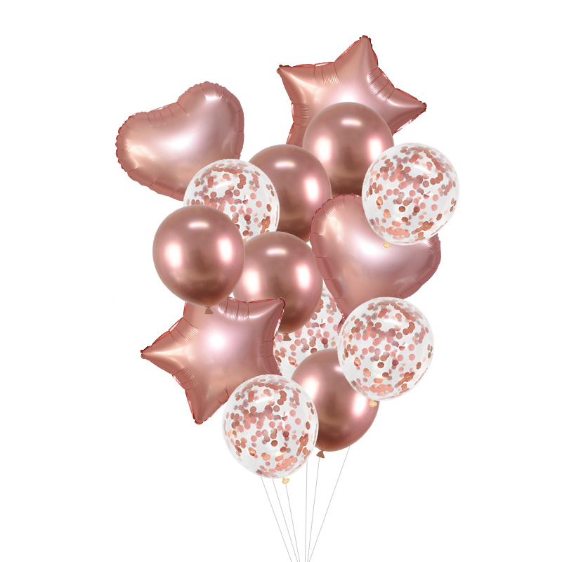 14Pcs/set 18inch Heart Star Foil Confetti Latex Balloons For Birthday And Wedding Party Decor 24
