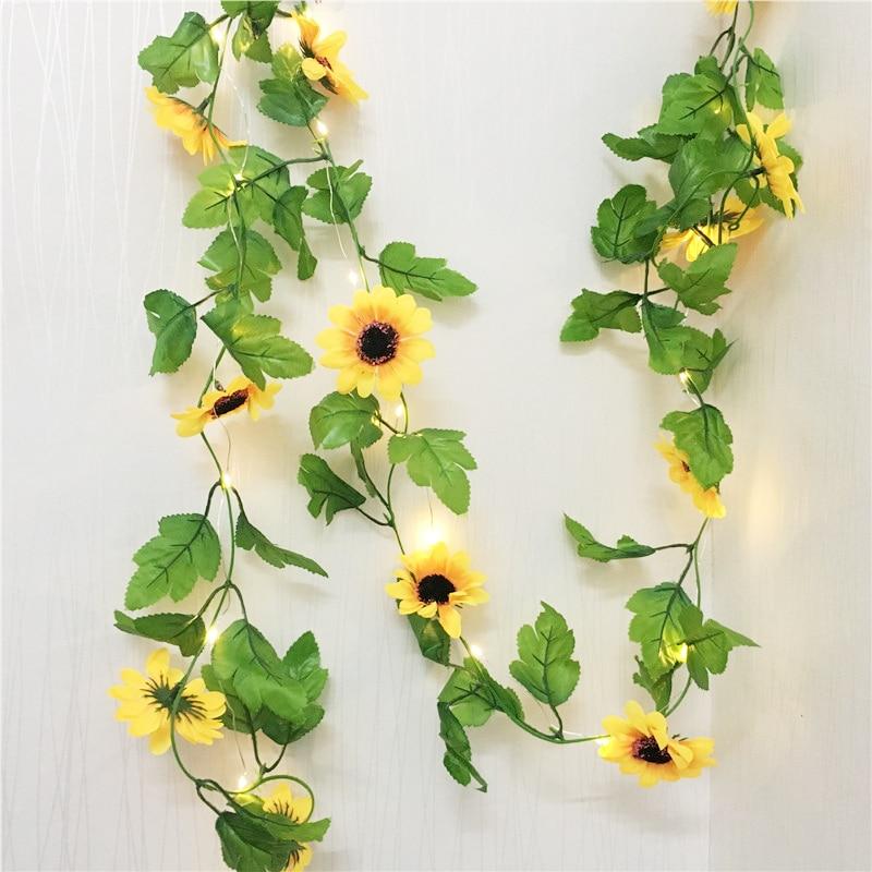 2.5M Sun Flower Fairy Led String Light Artificial Plants Vine Garland Copper LED Flexible String Light For Wedding DIY Hanging