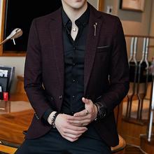 Spring Men's Plaid Blazer Fashion Business Casual Men's Slim Suit Jacket Large S