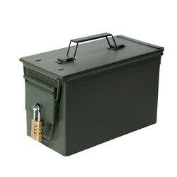 Con serratura 50 Cal Metallo M2A1 Munizioni Can Militare e Dell'esercito di Stile Scatola di Acciaio Gun Ammo Caso Scatola Titolare di Stoccaggio Pesante tactical Pallottola box