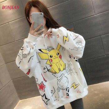 Cute Oversized Hoodie Print Pokemon Pikachu Pullover Hoodie Sweatshirt Teen Cartoon Long Sleeved Loose Pullover Girl 2020 christmas digital print pullover hoodie