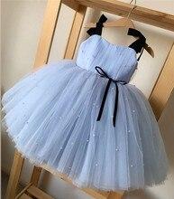 Новое модное платье для маленьких девочек с принтом для девочек с отделкой бисером 1st платье на день рождения для Платье для маленьких девоч...