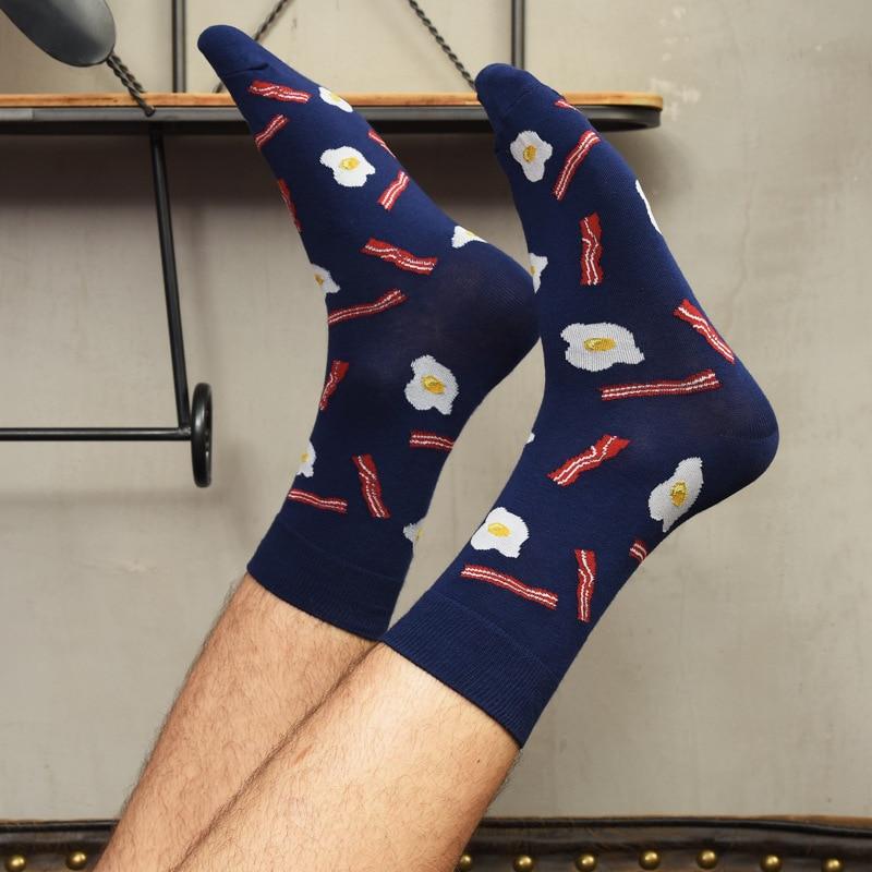 Food Pattern Socks Men Casual Cotton Colorful Cartoon Animals Fries Plant Harajuku Jacquard Street Hip Hop Funny Happy Socks