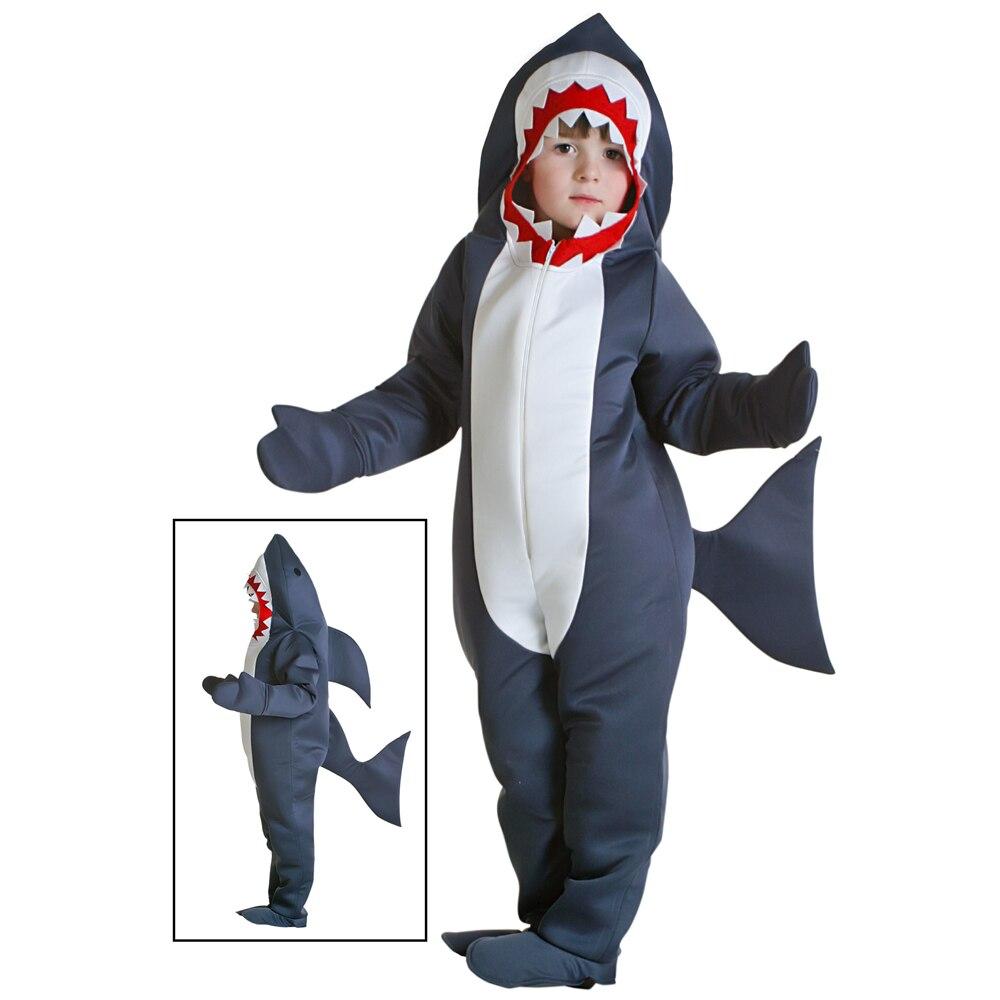 Halloween Costume For Kids Shark Costume Child Grey Shark Jumpsuit Animal Birthday Party Girls Boys Purim Cosplay