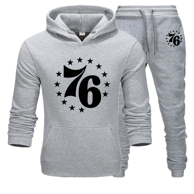 Tracksuit For Men 2020 Two-piece Set Of 76 Star Print Men's Sportswear Hoodies Autumn Winter Brand Mens Hoodies+Sweatpants Sets
