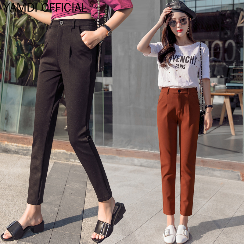 YAMDI Woman Pants 2019 Women Clothes Autumn Winter Korean Fashion Casual Solid Balck Brown White Pantalon Ladies Trouser Harem