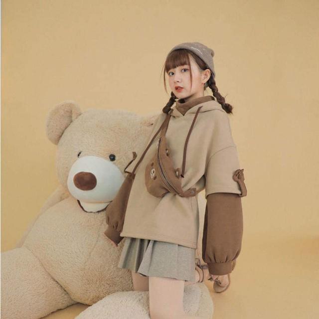 harajuku aesthetic bear anime hoodie women korean kawaii crewneck long sleeve oversized fall winter clothes kpop streetwear tops 4
