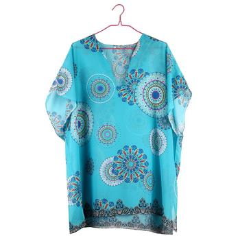 Beach Cover Up vintage bohemian beach dress woman Chiffon Tunic dress floral printed swimsuit cover up Summer blue bathing suit 4