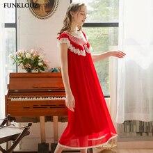Women Fashion Red Pink Sexy Sleepwear Nightdress Long Lace O Neck Nightwear Sleepshirts Plus Size Summer Nightgown Sleepwear