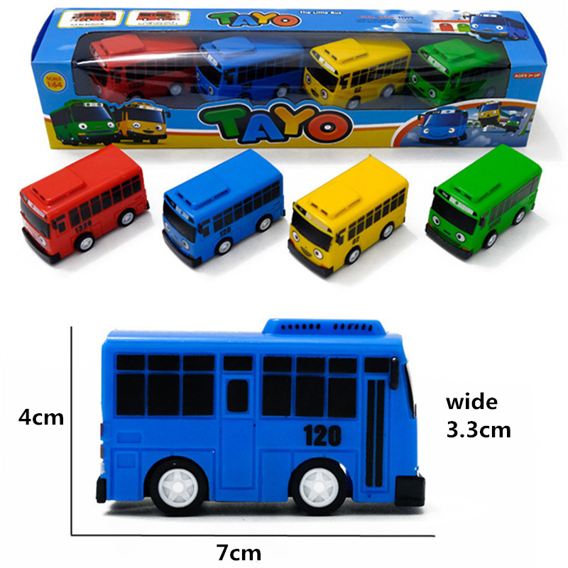 New 4pcs/set Tayo The Little Bus Mini Plastic Pull Back Blue Tayo Red Gani Yellow Lani Green Rogi Bus Car Model For Baby Gift