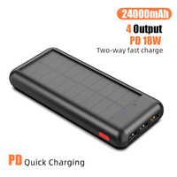 Solar Power Bank 24000mAh 3 USB External Charger Powerbank for Xiaomi IPhone X Portable External Battery Pack PD Quick Charging