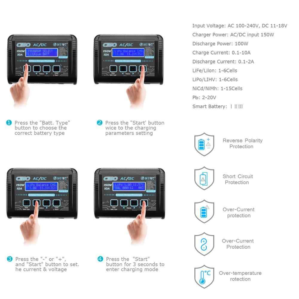 HTRC C150 lipo charger AC/DC 150W 10A Baterai RC Keseimbangan Smart Charger untuk LiPo LiHV LiFe Lilon niCd NiMh Pb baterai discharger