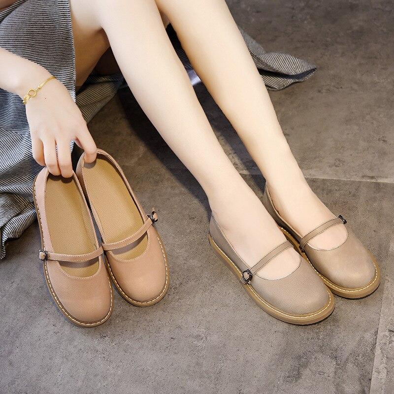 2020 neue Echtem Leder Oxford Schuhe Für Frauen Flache Schuhe Chaussures Femme Retro Handgemachte Slip Auf Casual Schuhe Frauen - 4