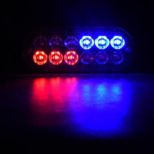 4 szt. 12-Led bursztynowy błysk migający odzyskiwanie stroboskop samochodowy sygnał awaryjny Led pomarańczowy Grill awaria światło przeciwmgielne Beacon