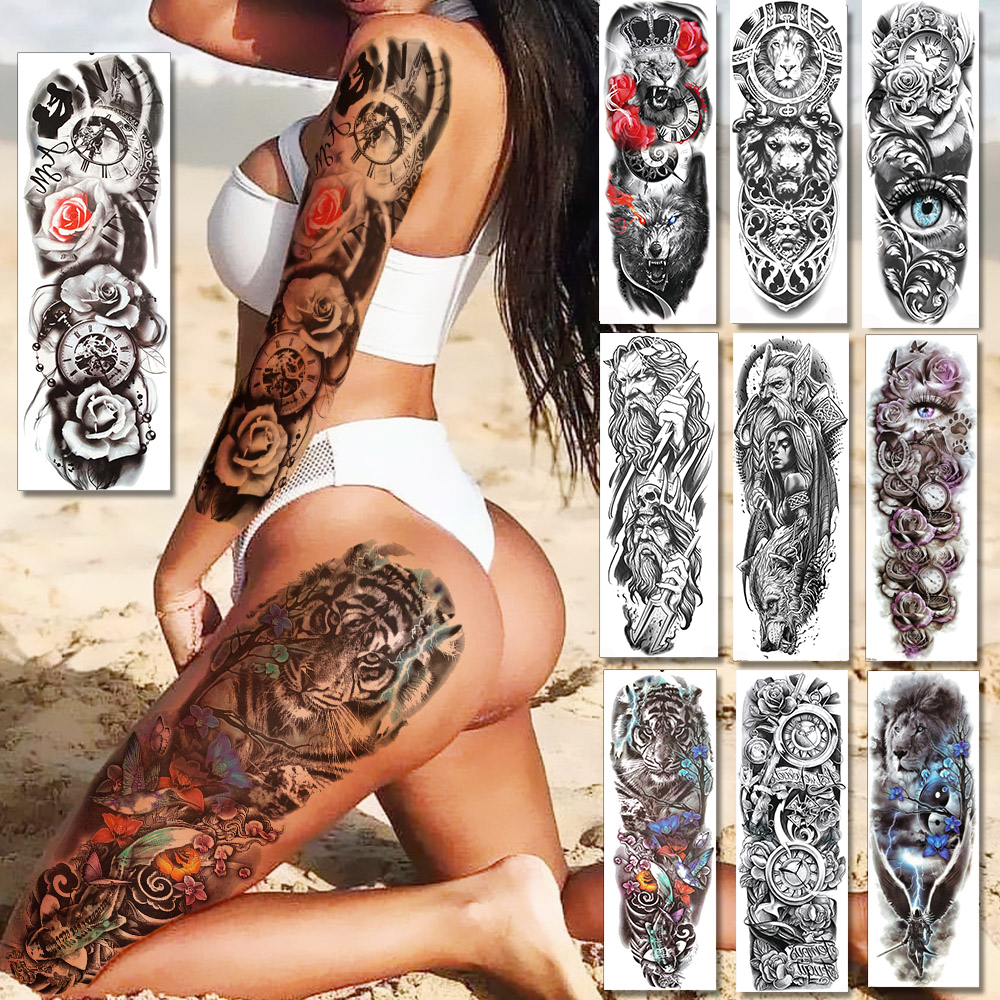 Sexy Long Full Arm Rose Clock Temporary Tattoos For Men Women Tatoo Body Leg Art Makeup Large Tiger Flower Fake Tattoo Stickers
