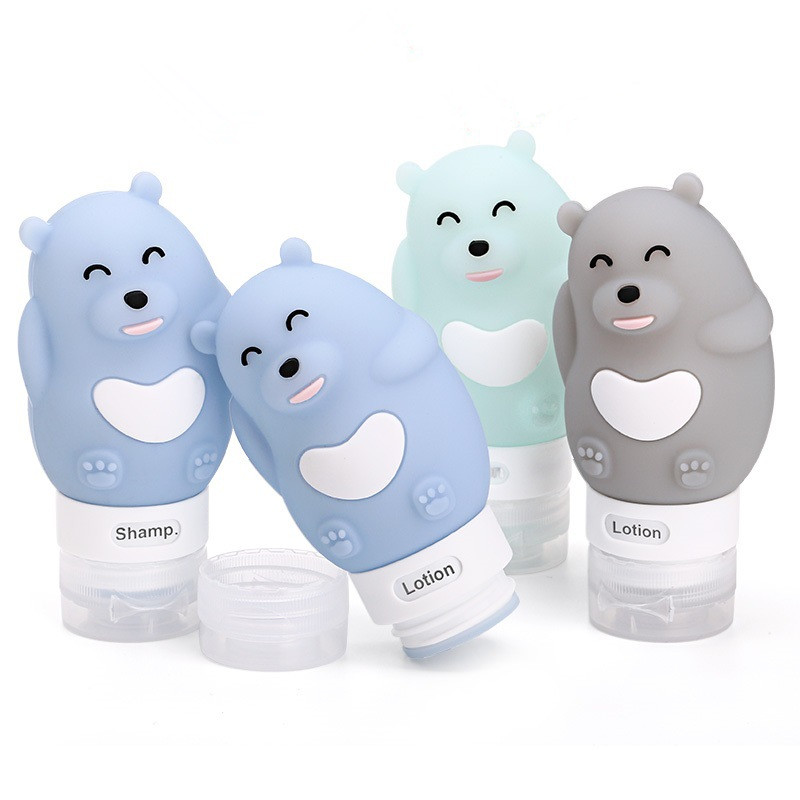 New Portable Cartoon Bear Animal Silicone Travel Case Organizer Shampoo Shower Gel Lotion Storage Refillable Bottle