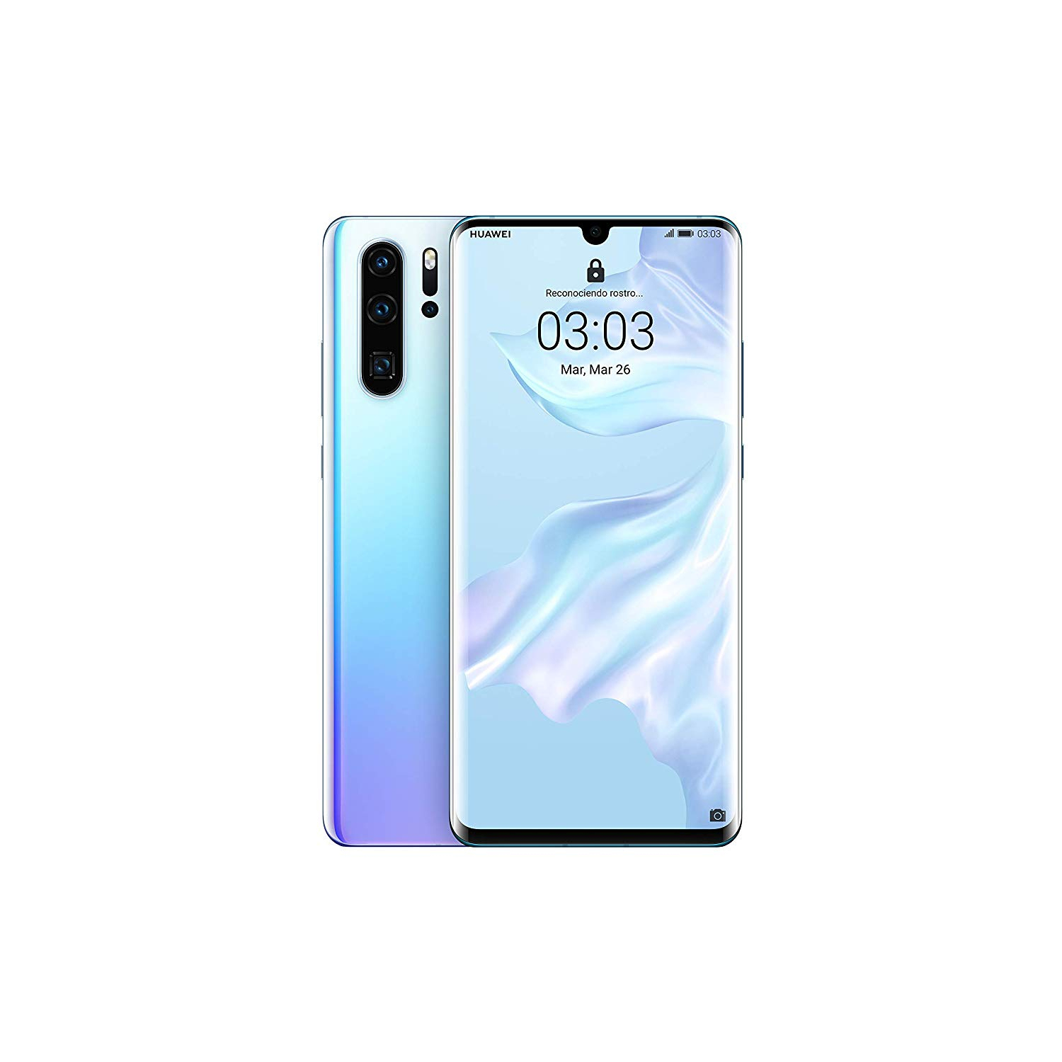 Huawei P30 Pro, Color Nacre (Breathing Crystal), Dual SIM, 12 8GB Memoria Internal, 8GB RAM, Screen 6.47