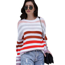 Color Stripe Sweater Top Winter Contrast Color Long Sleeve Pullover Knitted Pink Sweaters  Jumpers Ladies Cashmere E2014 contrast color stripe long sleeves coat