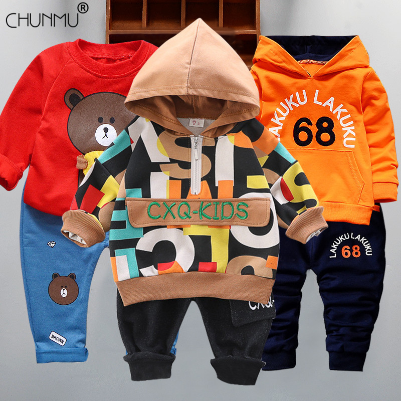 Infantil Baby Boys Suits Newborn Clothing Set Kids Letter Tracksuit Tops Pants Children Spring Boys Outfits Girls sets