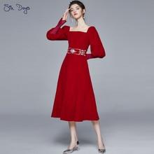 Retro francês de luxo veludo primavera vermelho mangas compridas vestido feminino verão vestidos princesa menina festa clube femme robe