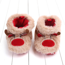 Crib-Shoes Newborn Baby-Girls-Boys Anti-Slip Winter Ankle-Boots Elk-Decor Cozy Christmas