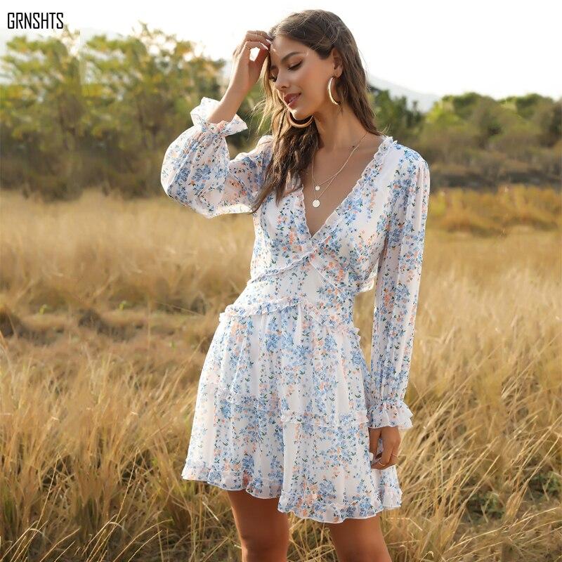 Eytino Women Sexy V Neck Long Sleeve Open Back Printed Mini Short Dresses 1
