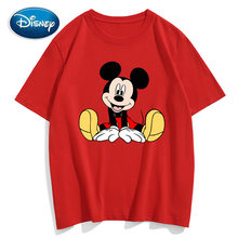 Disney T-Shirt Chic Mode Mignon Mickey Mouse Impression O-cou Pull Manches Courtes Tee-Shirts Couples Unisexe Femmes T-Shirts Hauts 10 couleurs(China)