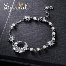 Special Fashion Moon & Star Bracelets Bangles Luxury Rhinestones Chain Pearl Jewelry Gifts for Women S1765C