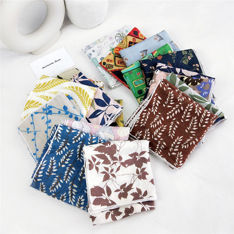 Women Cotton Linen Print Kerchief 50cm Small Scarf Neck Wear Headband Bag Decoration Elegant Floral Ladies Scarves Foulard Femme