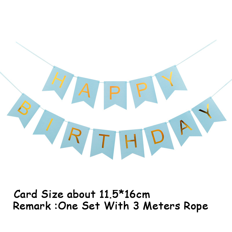 Купить с кэшбэком Blue Gold Foil Happy Birthday Banners Card Disposable Home Decoration party decorations birthday party supplies kids