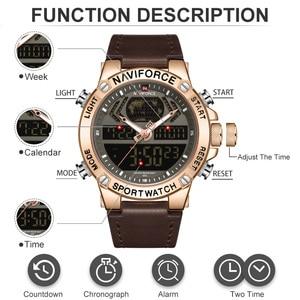 Image 4 - NAVIFORCE Uhr Männer Top Luxus Marke Leder Wasserdichte Sport herren Uhren Quarz Analog Digital Uhr Männlich Relogio Masculino